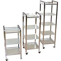 Preisvergleich für moebel direkt online Metallregal mit Rollen in 3 Größen _ Regal _ Regale mit Glasböden Regal mit 3 Glasböden, 70 cm hoch