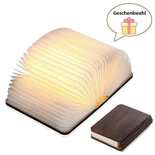 Yuanj Hölzerne faltende Buch-Lampe - magnetisches LED-Licht -dekorative Lichter, Schreibtisch-Lampe mit Akku 880 mAh - warmes licht-hell genug für das Ablesen - Ideal für Geschenk -