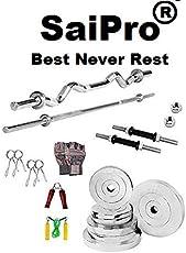 SaiPro 16 Kg Steel Plates Home Gym Set + 3 Ft Curl Rod + 5 Ft Plain Rod + Gym Accessories