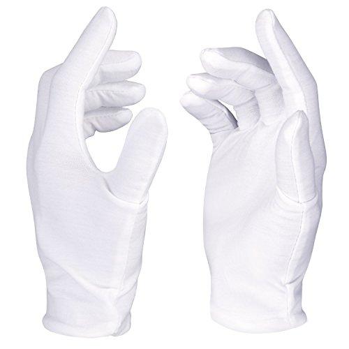 Neewer® 12 paires (24) Gants de travail en coton blanc, matière 100% coton utilisés pour Pièce, Bijoux, Argent ou Inspection de photo
