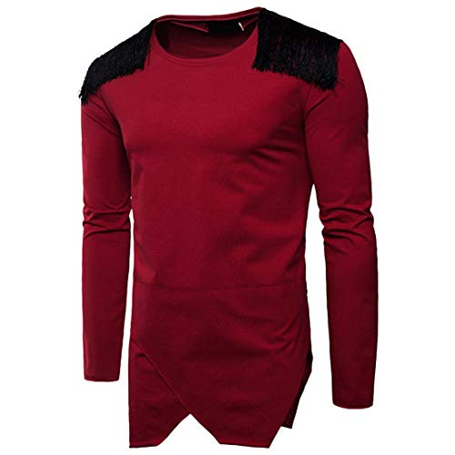 MRULIC Herren Langarm Kapuzenpullover Hoodie Pullover Sweatjacke Pullover(Rot,EU-44/CN-M)