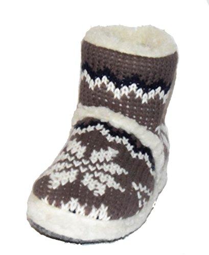 BTS hüttenschuhe chaussons pour femme chaud, avec jolis motifs tricotés et innefutter/37/taille 38–41 42 Marron - Marron