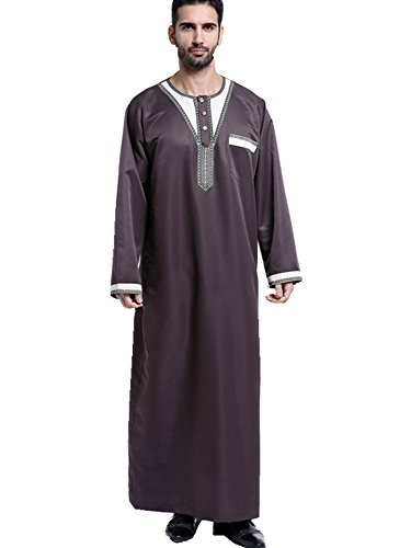 Dreamskull Muslim Abaya Dubai Muslimisch Islamisch Arab Arabisch Indien Türkisch Casual Festlich Kaftan Robe Kleid Maxikleid Herren Männer (XXXL, Braun) (Muslimischen Kostüm Für Männer)