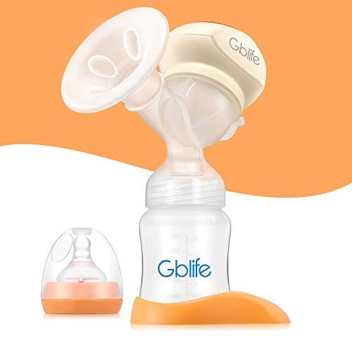 Gblife 2 en 1 Tire-lait Électrique Automatique Biberon Portatif 2 Canaux 4 Modes de Vitesses Tétin Massage Pour Période Allaitement Blanc Orange
