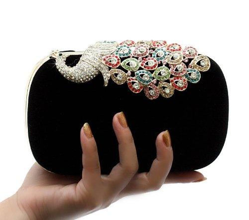 Pfau Kristall Diamant funkeln Abendtaschen Hart Schachtel Unterarmtasche Clutch Handtasche (Rot) Kaxidy 4Z7FazSy