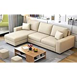Casaliving - Rolando L Shape Fabric Left Side Sofa for Living Room with 2 Puffy (Cream)
