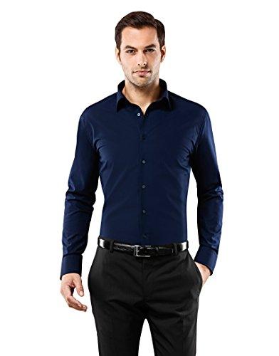 Vincenzo boretti camicia, taglio aderente, in tinta unita - non-stiro blu scuro 39/40