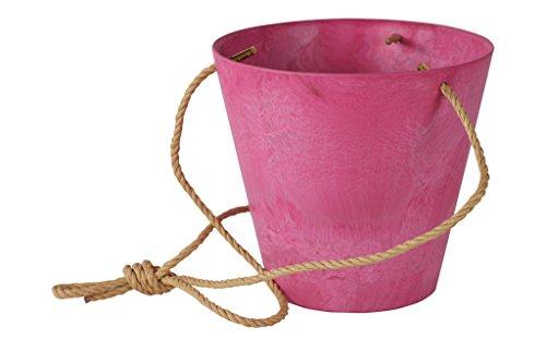 Artstone Pflanzgefäß Blumenampel Claire, frostbeständig und leichtgewichtig, Pink, 22x20cm