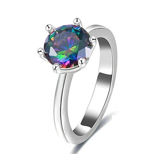 Epinki placcato argento donna anello elegante anello argento colorato cubic zirconia misura 17