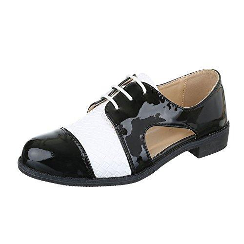 Schnürer Damenschuhe Oxford Blockabsatz Schnürer Schnürsenkel Ital-Design Halbschuhe Schwarz Weiß