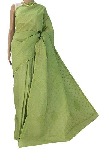 R'ZU Women's Green Cotton Lucknowi Chikankari Saree