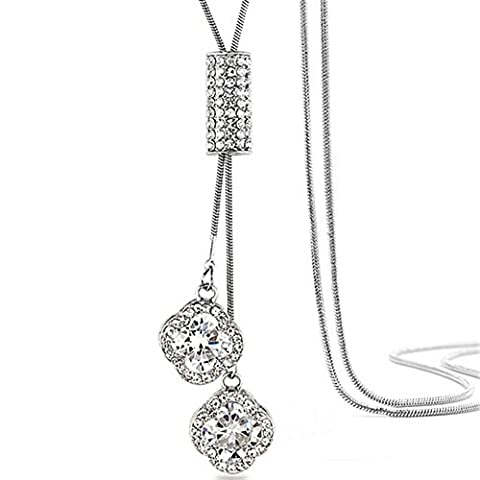Yozone Women's Four-Leaf Clover Pendant Long Chain Sweater Necklace (Silver)
