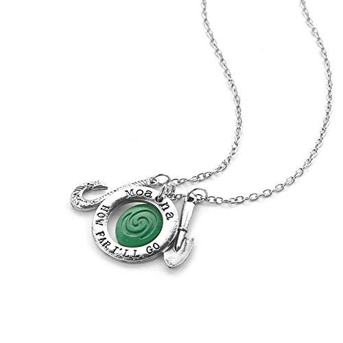 DADATU Halsketten für Herren Amerikanische Animation Fantasy Film Moana Halskette Polynesische Prinzessin Mona Schmuck Hochwertige Alte Silber Anhänger Weiblich