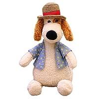 Creamon Plush Dog Doll with Straw Hat, Plush Dog Doll with Straw Hat Stuffed Dog Toy Cute Straw Hat Dog Toy White