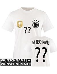 Kinder Fußball T-Shirt bedruckbar - WUNSCHNAME & NUMMER - WM / EM / DEUTSCHLAND - Rundhals Tshirt für Mädchen & Jungen - Deutschland Trikot in div. Größen