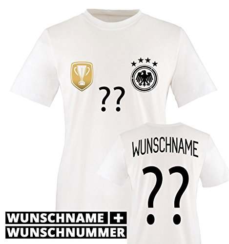 Jungen Für Kostüm Trikot (TRIKOT - DELUXE 2016 - DE - WUNSCHDRUCK - Kinder T-Shirt - Weiss / Schwarz-Gold Gr.)
