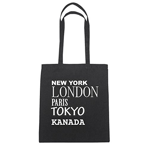 JOllify Canada borsa di cotone b4729 schwarz: New York, London, Paris, Tokyo schwarz: New York, London, Paris, Tokyo