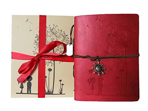 Álbum Foto, ZEEYUAN Memoria Álbum de Recortes Cuero Suave Diente de león Álbum de Fotos Familia Libro Especial Navidad de San Valentín Regalos de Cumpleaños ,Ven con caja de regalo (rojo)
