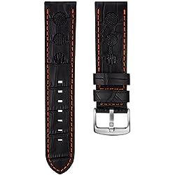 Alligator & Lizard Rally Leather Watch Strap, Emery Black, Burnt Orange Stitch, 23mm