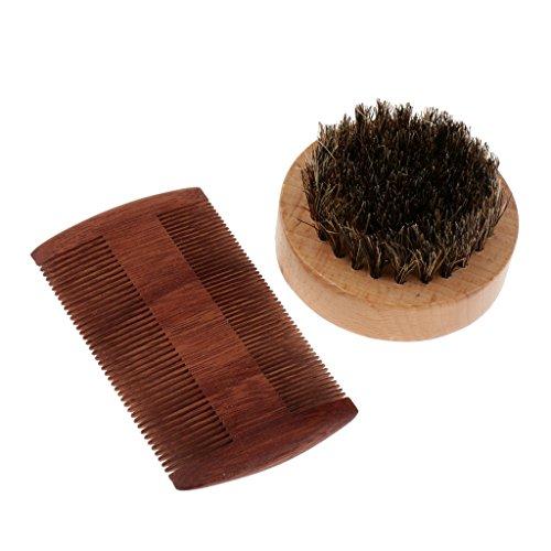 Homyl Peigne en Bois Naturel à Dents Fines pour Démêlage de Cheveux de Barbe + Brosse de Rasage