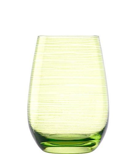 Stölzle Lausitz Twister Becher in grün, 465 ml, 6er Set Gläser, spülmaschinenfest, bunte Trinkbecher, hochwertige Qualität