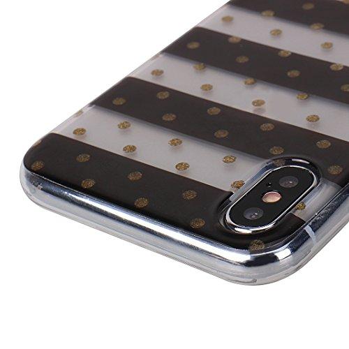 Cover Soft per iPhone X, Asnlove Morbida Elegante Caso Ultra Sottile TPU Gomma Gel Custodia Motif di Colore Cassa Antiurto Silicone Trasparente Case Posteriore Per iPhone X, Colore-17 Gruppo-8