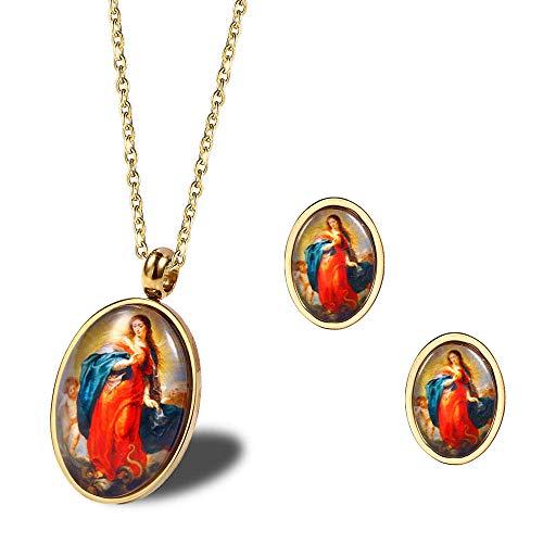 MXWY Frauen Anhänger Halskette Guadalupe Madonna Reiten Kind Jesus Muster Glas Halskette Titan Stahl Ohrstecker Religiösen Schmuck Set (Reiten-traktor Für Kinder)