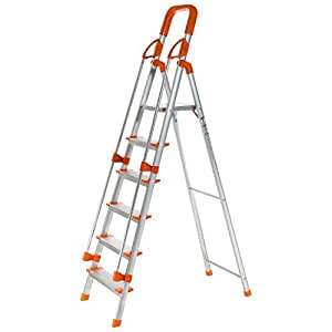 Precision Products 6 Steps Aluminum Ladder With Railing