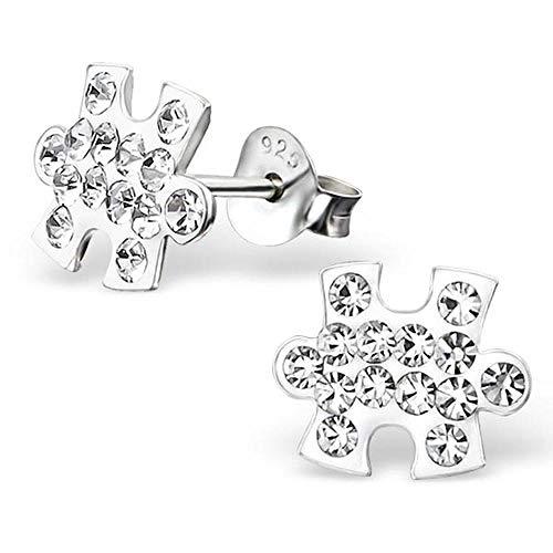 So Chic Joyas© pendientes niño pieza Puzzle pedrería cristal blanco plata 925
