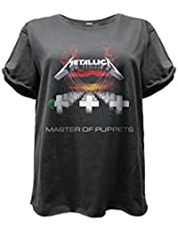 Amplified - Metallica Damen Boyfriend Rock Band T-Shirt - Master of Puppets (Grau) (XS-L)