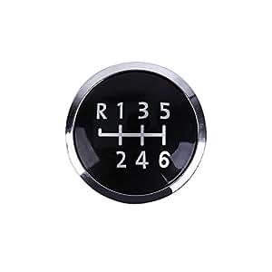 Badge Pastille pour Pommeau levier de vitesse Noir Chrome 6 Vitesses VW T5