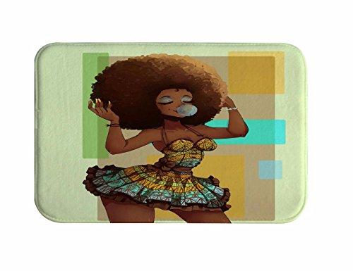 A.Monamour Tradicional Negro Africano Mujer Con Afro Hairstyle Soplando Gomas Acuarela Retrato Imprimir Franela De Tela Antideslizante Alfombra De Baño Alfombra Para Baño Ducha Accesorios 40X120Cm / 16 'X48'