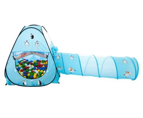 EISBÄREN Tunnel Bällebad pop-up Zelt mit 150 bunten Bällen (Eisbär Zelt)