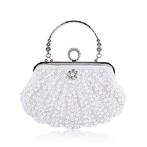 Tandou Damen Tasche Elegante Perle Handtaschen Abendtasche Hochzeit Party (Weiß) -