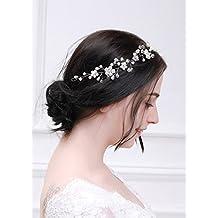 kercisbeauty novia perlas de plata pelo Vine Flor Diadema Tocado de flores  Halo de cristal Vintage e3ebac5f7e87