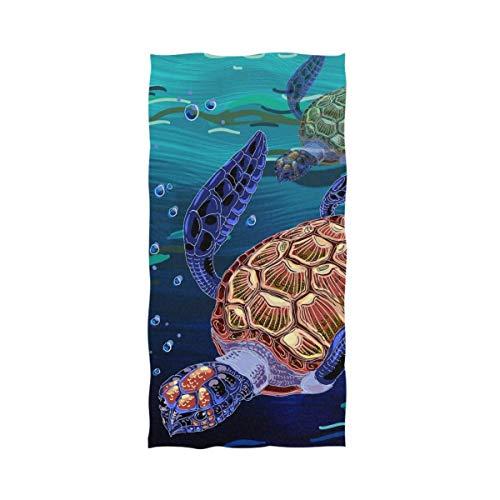 Goodshope Badetuch mit bunten Schildkröten-Aufdruck, weiches Badetuch, große Handtücher für Badezimmer, Hotel, Fitnessstudio und Spa (69,8 x 44,5 cm)