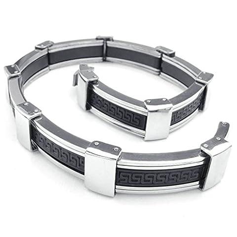 AMDXD Bijoux Acier Inoxydable Bracelets à Manchette pour Hommes Rectangle The Geek Key Argent Noir