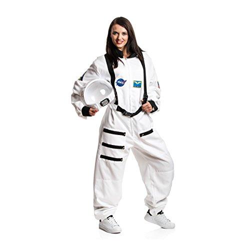 Kostümplanet Astronauten-Kostüm für Damen Astronautin-Kostüm Weltall Astronauten-Overall Faschingskostüm Größe M (Weiß Astronaut Kostüm Für Erwachsene)