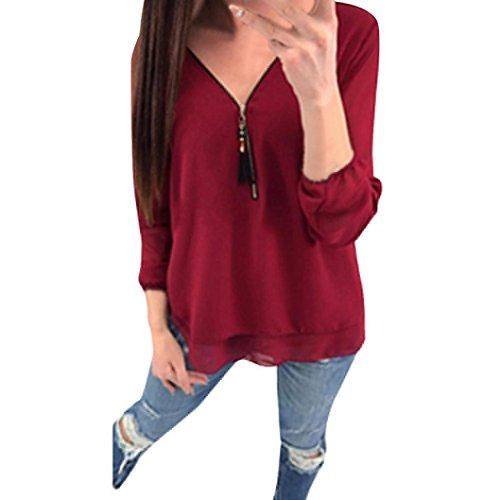 Damen Sommer Reißverschluss Langarm T-Shirt Bluse Tops DOLDOA Oberteile Geburtstags Geschenk Für Frauen Mädchen Freundin (EU:38, Rot - 10)
