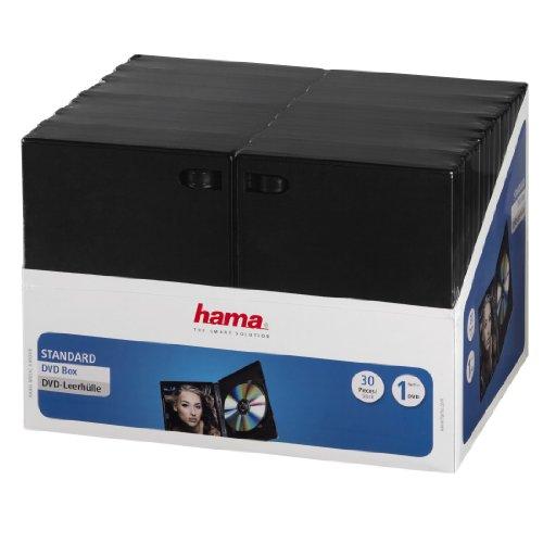 Hama DVD-Hüllen (auch passend für CDs und Blu-rays, mit Folie zum Einstecken des Covers) 30er-Pack, schwarz
