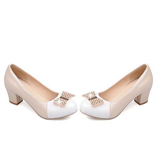 AgooLar Damen Rund Zehe Ziehen Auf Pu Leder Gemischte Farbe Mittler Absatz Pumps Schuhe Cremefarben