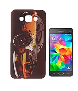 Exclusive Soft Silicon Back Case Cover for Samsung Galaxy A7 - Black and Orange Sports Car
