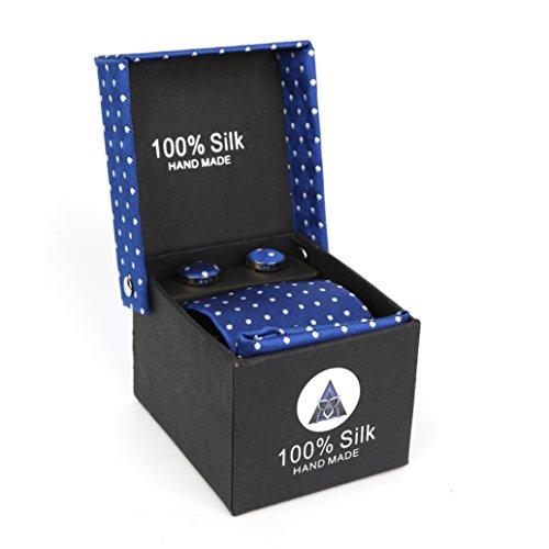 LanSilk Business Set Cravatta da Uomo Cravatta sottile gemelli e fazzoletto confezione regalo 100% seta