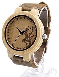 Bobobird 100% de bambú natural de madera del reloj con correa de cuero marrón genuino