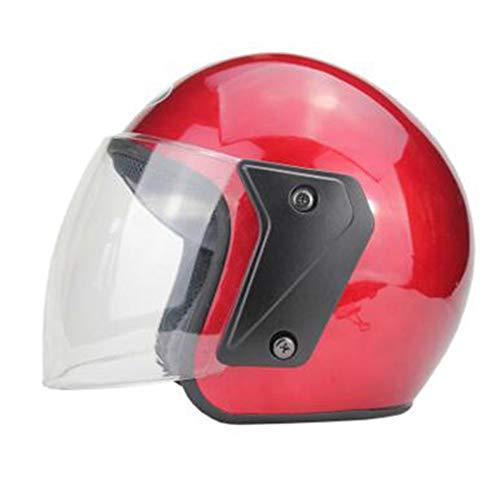 Tzq casco moto casco open face mezza casco in pelle con visiera goggles 54-60cm,red-54~60cm