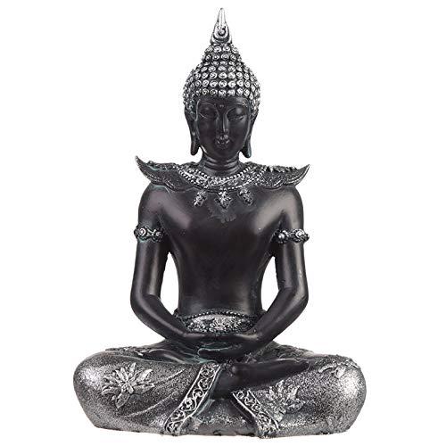 Puckator Deko-Figur sitzender thailändischer Buddha (Gelassenheit), exotischer orientalischer Stil, 19,5 cm, Schwarz/silberfarben, Kunstharz, Multi, Height 19.5cm Width 13.5cm Depth 8cm