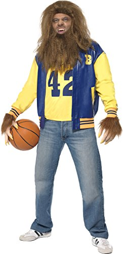Smiffy's Men's Teen Wolf Costume,  Jacket, Vest, Gloves, Wig & Beard - Medium or Large