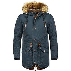 !Solid Vidage Manteau d'hiver À Capuche avec Peau De Mouton Parka d'hiver Veste Longue pour Homme, Taille:L, Couleur:Insignia Blue (1991)