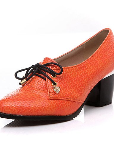 ZQ Scarpe Donna - Stringate - Tempo libero / Ufficio e lavoro / Formale - Comoda / A punta - Quadrato - Finta pelle -Nero / Beige / , orange-us8 / eu39 / uk6 / cn39 , orange-us8 / eu39 / uk6 / cn39 beige-us5 / eu35 / uk3 / cn34