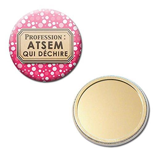 Profession ATSEM qui déchire Miroir de poche 56mm ( Idée Cadeau Fin d'année Scolaire École Noël Remerciement )